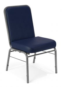 Super Comfort 300 LB Maximum Cushioned Vinyl Stack Chair with Silver Vein Frame by OFM