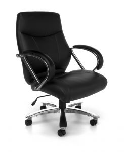 OFM Avenger Series 500 lb Big & Tall Mid-Back Leather Executive Office Chair