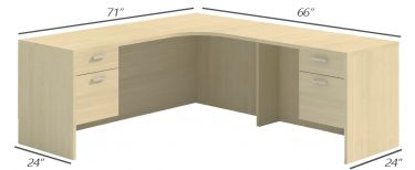 Husky Office® Heavy Duty Double Suspended Pedestal L-Desk Credenza, Curved Corner-Small