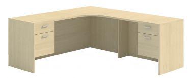 Husky Office® Heavy Duty Double Suspended Pedestal L-Desk Credenza, Curved Corner-Large