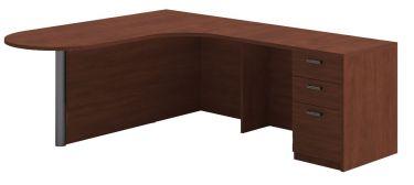 Husky Office® Heavy Duty Bullet L-Desk, Curved Corner-Medium