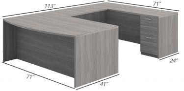 Husky Office® Heavy Duty Double Pedestal Bowfront U-Desk-X-Large