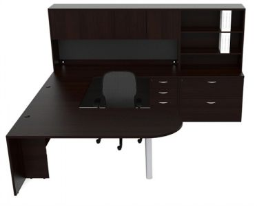 Husky Office® Heavy Duty Bullet Shape U-Desk With Multi-Hutch & Lateral File - Right  Configuration