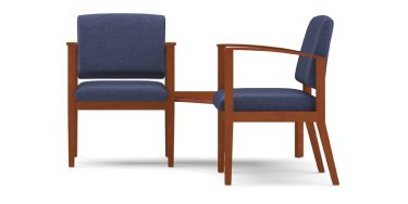 Lesro Amherst Wood® 2 Chairs With Connecting Corner Table