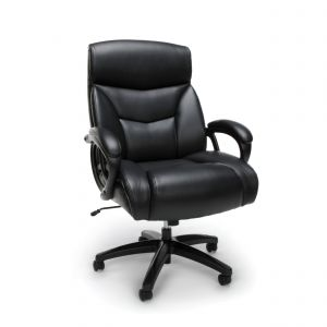 Husky Office® Essentials Big & Tall 350 lb Black Leather Office Chair with Padded Arms