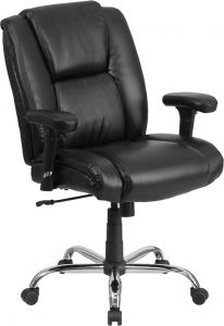 Husky Office® 400 lb  Big & Tall Mid-Back Black Leather Office Task Chair with Lumbar Support