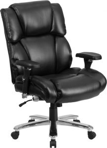 Husky Office® Big & Tall 24/7 Use 400 lb Black Leather Executive Office Chair