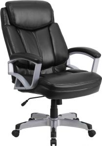 Husky Office® Heavy Duty 500 lb. Capacity Big & Tall Black Leather Office Chair with Lumbar Support
