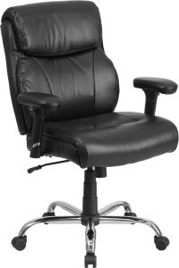 Husky Office® Heavy Duty 400 lb Big & Tall Black Leather Office Chair with Lumbar Support