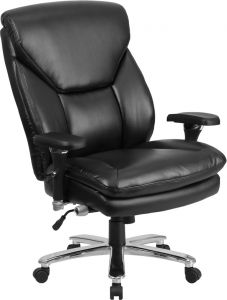 Husky Office® Extra Wide Big & Tall 24/7 400 Lb Black Leather Executive Office Chair