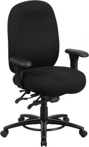 Husky Office® Big & Tall 24/7 350 Lb High Back Black Fabric Office Chair with Foot Ring