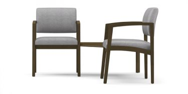 Lesro Lenox Wood® 2 Chairs With Connecting Corner Table -Solid Lenox Wood