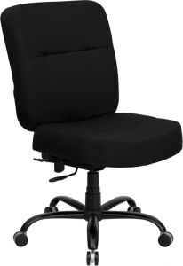 Husky Office® Heavy Duty 400 lb. Capacity Big & Tall Black Fabric Office Chair with Extra Wide Seat