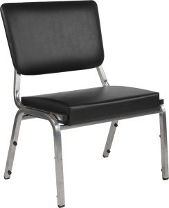 Husky Office® 1000 Lbs. Bariatric Black Vinyl Panel Back Side Chair