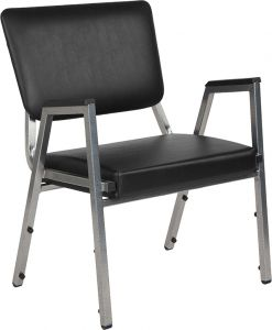 Husky Office® 1500 Lbs. Bariatric Black Vinyl Panel Back Side Chair with Arms