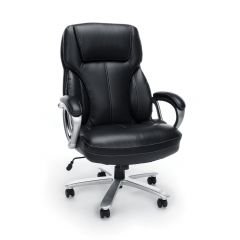 Husky Office® Essentials Big & Tall 400 lb Black Leather Office Chair with Padded Arms