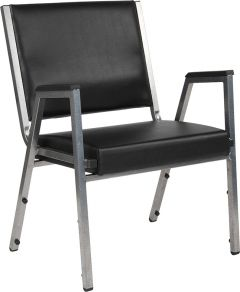 Husky Office® 1500 Lbs. Big & Tall Black Vinyl Stack Side Chair with Arms