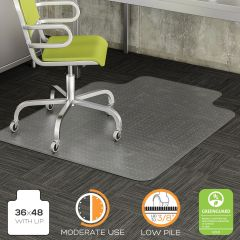 Heavy Duty Low Pile Carpet Chair Mat with Beveled Edge & Lip