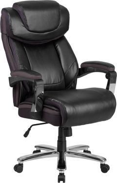 Husky Office® 500 lb Big & Tall Leather Executive Chair with Mesh Trim-Black