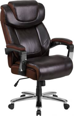 Husky Office® 500 lb Big & Tall Leather Executive Chair with Mesh Trim-Brown